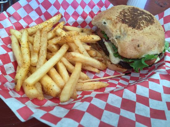 Love Creek Orchards : Seasoned fries were awesome!  Accompanied by cheeseburger on jalapeno bun