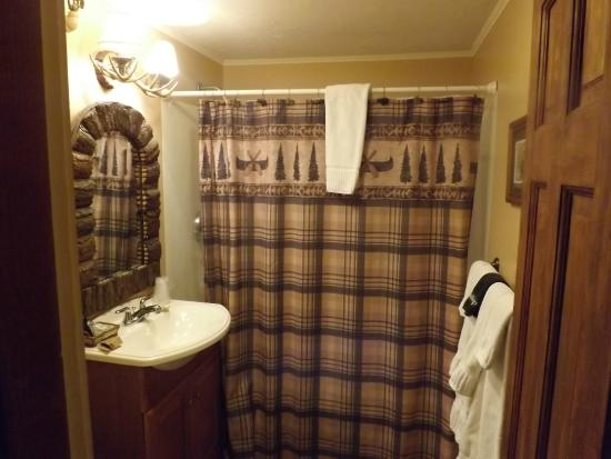 Whitney's Inn: see the mirror and vanity lights along with shower curtain! love it!