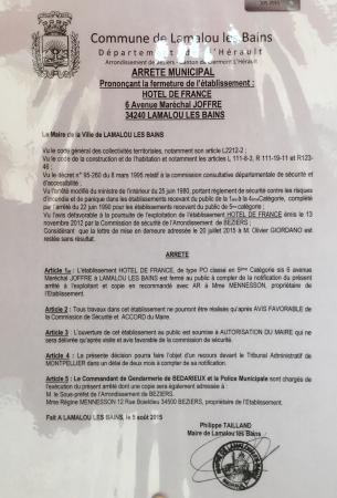 Hotel De France : En complément de l'avis déposé le 07 août...
