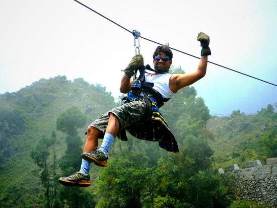Camp Dhanaulti Magic : Zip line at Snow Adventure Zone