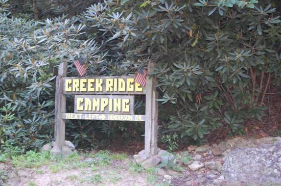 Creek Ridge Camping : Sign by Spring Creek