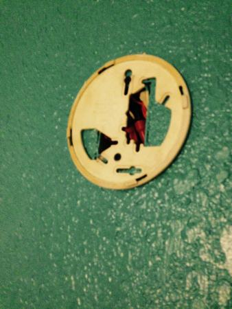 Super 8 Portland/Westbrook Area: Why is there a hole in the wall from this once smoke detector? Why is the wall this color?