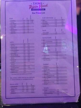Lyons Robin Hood Holiday Park: Price List