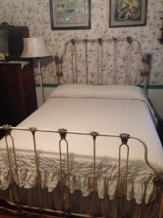 A Sentimental Journey Bed and Breakfast: The very comfy bed in the upstairs 1940s themed room.