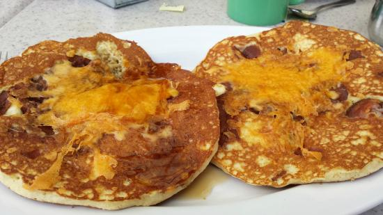 Beach Grass Cafe : Maple Cheddar Bacon Pancakes