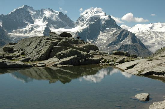 Fuorcla Surlej: Lake on the Fuercia and the Bernina and Roseg glaciers