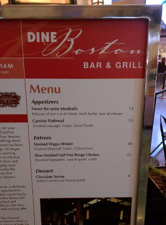 the fake menu all too tempting but not available at any price