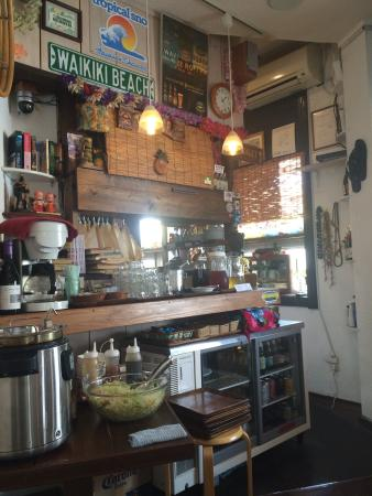 Hanahou : The kitchen and self service drink/salad area