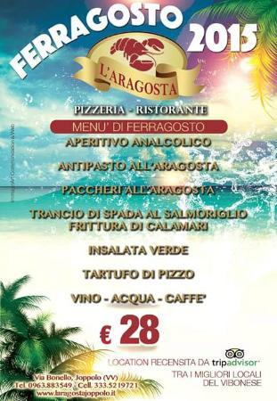 Joppolo, Italy: menù di Ferragosto 2015