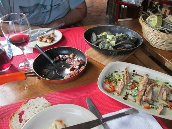 Mazagao : Polvo, Mexilhões, Atum escabeche e umas Sopas de peixe foram os nossos petiscos