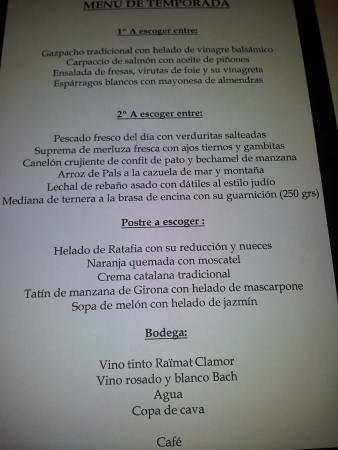 Restaurant Curia Reial SL. : Carta del dia