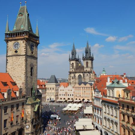 Old Town Square Prague Grand Hotel Praha On Right Edge Of Photo Astrological
