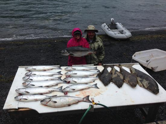 Kodiak Raspberry Island Remote Lodge: Not bad for 1 day of fishing for 2