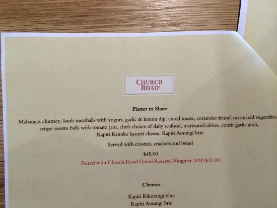 Church Road Winery Cellar Door & Restaurant: Menu description of Platter
