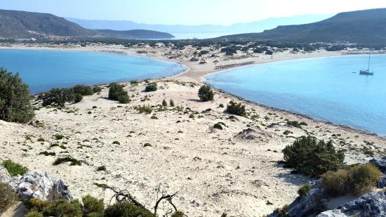 Simos Camping: Both beaches from the hill