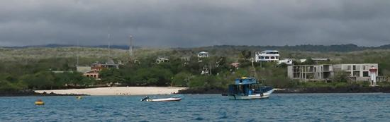 View from the sea, it's the the blue and white building right of center