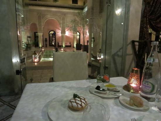 L'Ambre at Riad Fes: Chicken Pastilla with a view