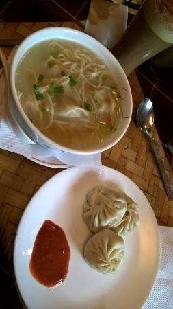 Barbeque Restaurant: momos and wanton noodle soup