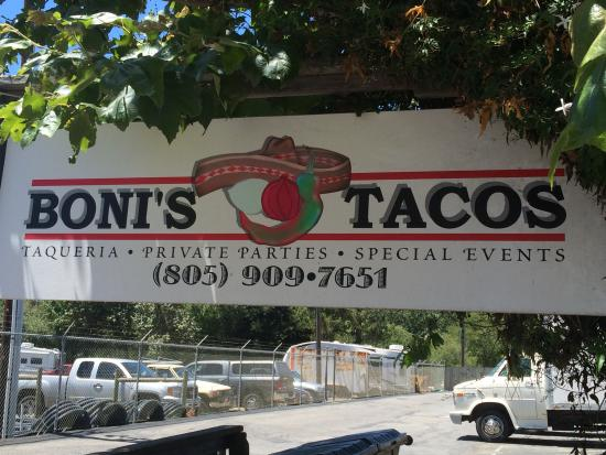 Boni's Tacos: Look for the signage