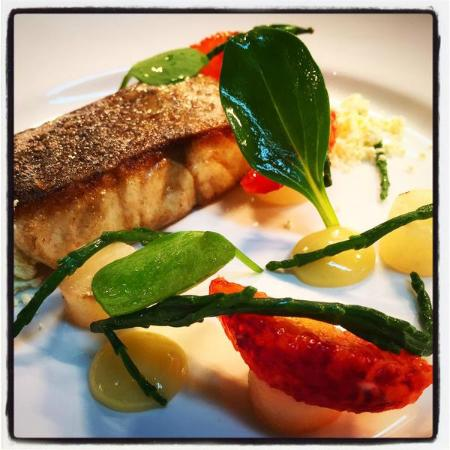 Donegal Town, Irland: Stone bass, lemon gel, blood orange, beetroot, sea vegetables, hickory