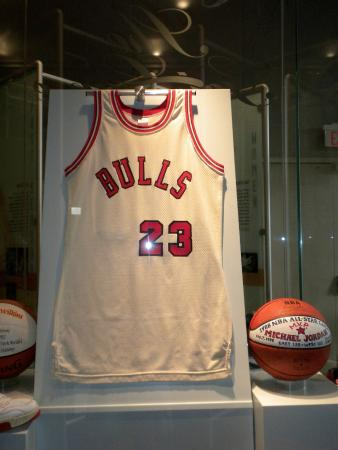 super cute ba976 05787 Michael Jordan jersey and ball - Picture of Basketball Hall ...