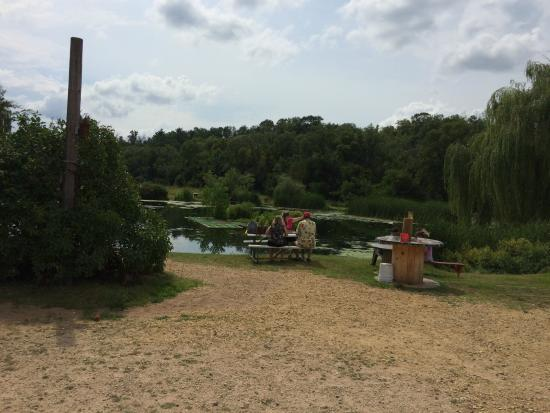 The Bullfrog Fish Farm: Families were fishing in the pond--good spot to relax together!