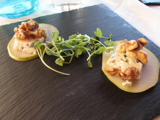 The Stone Cellar: pear, blue cheese, walnut treat