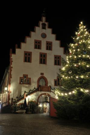 The Historic Rathaus (town hall) in Karlstadt at Christmas time