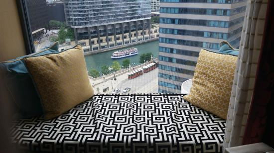Window seat view of chicago river from room 1412 picture for Hotel monaco chicago