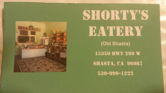 Shorty's Eatery in Shasta, California (just outside Redding)