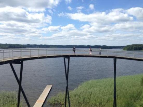 Zarasai, Lituania: Вид на озеро и обзорный мост