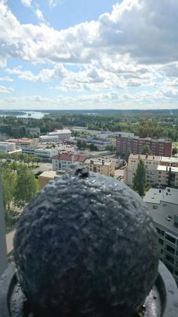 Varkaus, Finland: Fountain with a view.