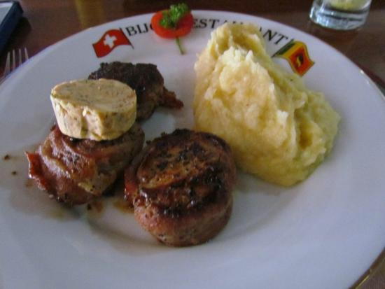 Bijou: pork filet migneon wrapped in Bacon with mashed potatoes and a salad