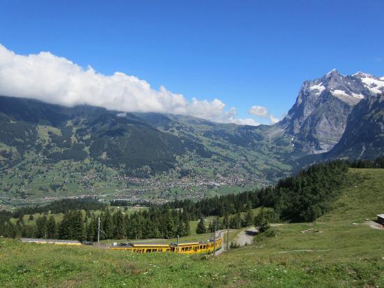 Grindelwald, Sveits: ベルナーオーバーランド鉄道の列車がやってきます。向こうの山はグリンデルワルドの山ベッターホルン。風が爽やかでした。
