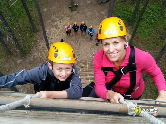 Treeosix Adventure Parks: Climbing up the rope ladder to the 1st one