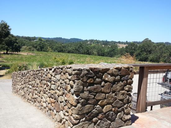 Forestville, Califórnia: Stone wall overlooking vineyard and vegetable garden