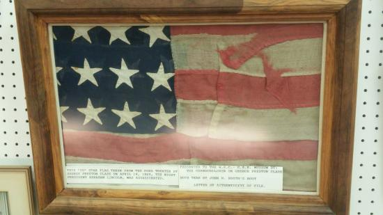 Grand Army of the Republic Memorial Museum: GAR civil war museum. This is the flag that was hanging from the balcony in Ford's Theater. Note