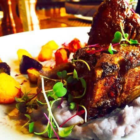 Artisan 179: Strauss lamb t-bone with purple Peruvian mashed potatoes, roasted heirloom carrots, and lamb dem
