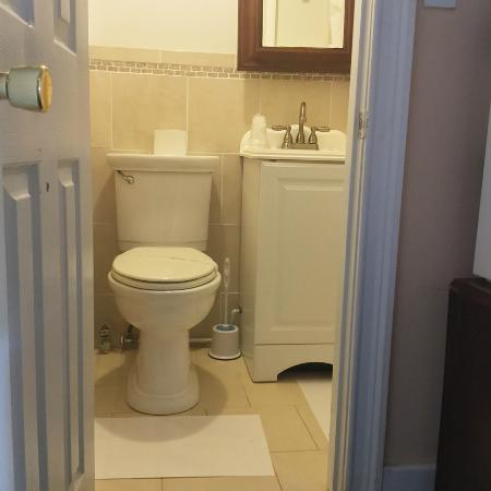 Palatine Bridge, NY: clean, modern bathroom with standup shower for ease