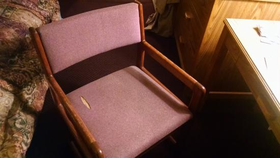 Super 8 East Lansing/University Area: Desk chair with ripped upholstery