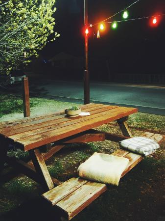 Burt.Ritos: Sweet little picnic table set up complete with blankets in the cooler months