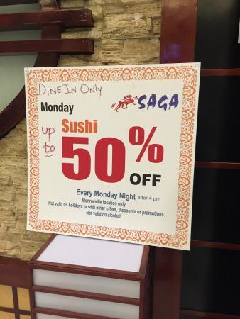 Saga Hibachi Japanese Steak House: 50% off Sushi on Mondays