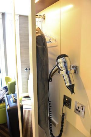 Hub By Premier Inn London Covent Garden Hotel Wardrobe Hairdryer