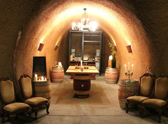 Byington Vineyard and Winery: Library wine Tasting Room in Cave