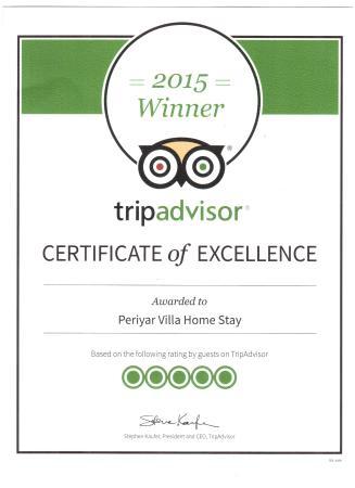 Periyar Villa Home Stay: Periyar Villa Excellence Award - 2015