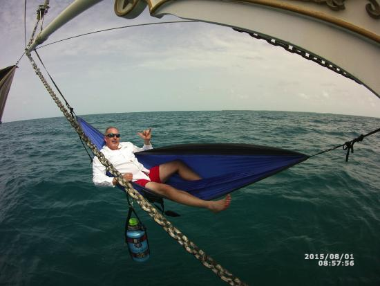 schooner spirit of independence  jimmy moore chilling in a hammock off the bow  cool jimmy moore chilling in a hammock off the bow  cool ride      rh   tripadvisor