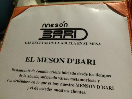 Meson de Bari: The menu