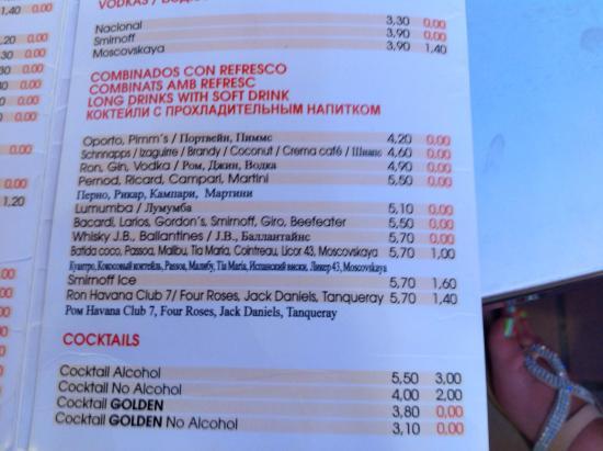 Golden Taurus Park Resort: Drinks menu