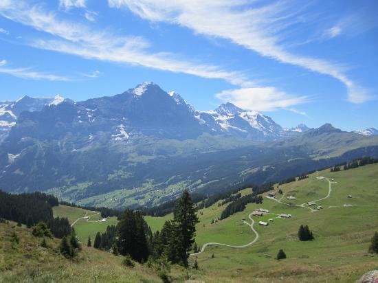 グリンデルワルト, スイス, ハイキングコースの終点がバス停。グリンデルワルドに帰りました。