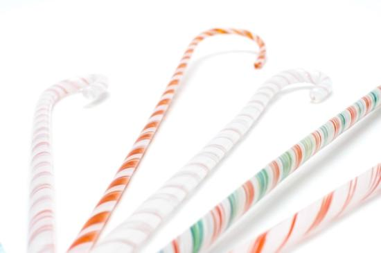 Weymouth, UK: glass candy canes for xmas decorations